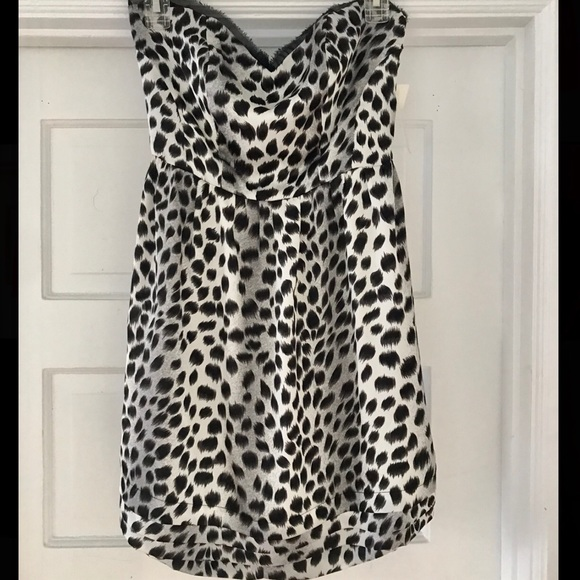 NWT Strapless Leopard Print Dress w/ Back Cutouts